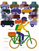 Cyclist bypassing traffic jam,illustration