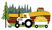 Farmer driving tractor with trailer,illustration