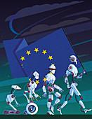 Evolution of robots carrying EU flag,illustration