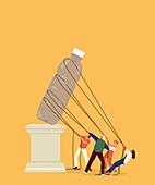 People pulling plastic bottle off pedestal,illustration