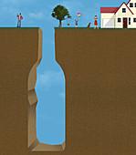 Alcoholism,conceptual illustration