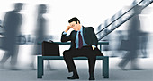 Exhausted businessman,illustration