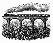 Engraving of steam train going over viaduct