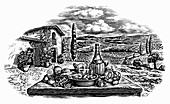 Engraving of wine and pasta in countryside