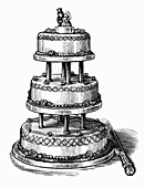 Engraving of tiered wedding cake
