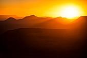 Sunset over the Karoo mountain range,South Africa