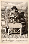 Selling medicinal remedies,17th century