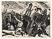 Death and destruction during an earthquake,illustration