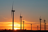 Wind turbines at sunset,Missouri,USA