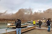 Power plant demolition,Michigan,USA