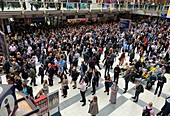 People waiting in Liverpool Street Station