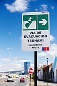 Tsunami evacuation route sign,Punta Arenas,Chile