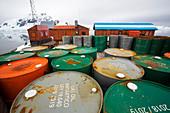 Oil barrels at Almirante Brown station,Antarctica