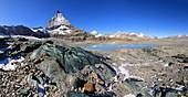 Matterhorn,glacial lake and serpentinite