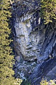 Rock formation resembling a face