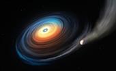 Exoplanet orbiting a white dwarf star,illustration
