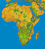 Topographical map of Africa,satellite radar data