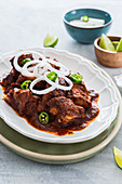 Pork ribs in adobo sauce