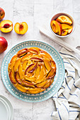 Upside down fresh peach cake