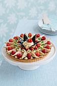 Raspberry and fig tart