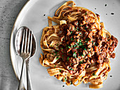 Tagliatelle with vegan bolognese