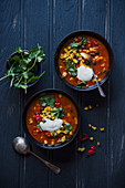 Spicy bean, corn and tomato chunky soup with chilli, cumin, coriander and sour cream
