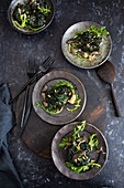 Cavolo nero bundles with mushrooms