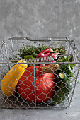 Fresh veg in a wire basket