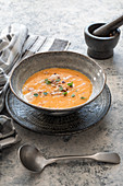 Pumpkin soup with hazelnuts and brown butter