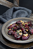 Smoked roasted beets with feta and nuts