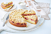 Apple and raspberry crumble tea cake