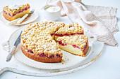 Apple and raspberry crumble tea cake