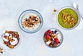 Fruit and nut granola, banoffee pecan granola, savoury spiced granola and carrot cake granola
