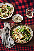 Brown rice with asparagus, zucchini and herbs