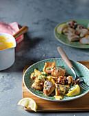 Pan-fried calamari with creamy citrus sauce