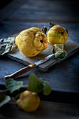 Quinces with a knife on a wooden board