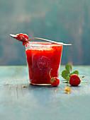 A jar of strawberry jam