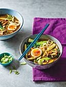 Spicy pak choi and mushroom ramen with cooked egg