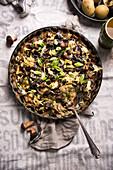 Vegan wild mushroom and potato gratin