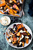 Braised vegetables with blue cheese