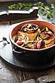 Zucchini eggplant tian style rolls