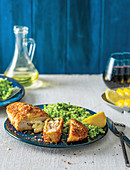 Molten cheesy chicken fillets with broccoli 'rice'