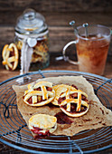 Lattice cookies on greaseproof paper
