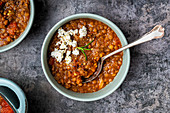 Greek lentil soup wit feta