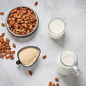 Almond milk, almond flour and almonds