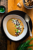 Porcini mushroom, red wine and potato soup with rosemary