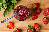Homemade strawberry jam in a jar