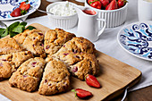 Strawberry scones served with cottage cheese and strawberry sauce