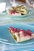 Pistachio galette with beetroot powder