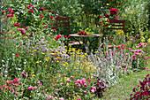 Sitzplatz im bienenfreundlichen Beet mit Rosen, Wollziest, Oregano und Färberkamille